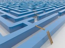 Maze Labyrinth 3D framför med stegen och plank Arkivfoto
