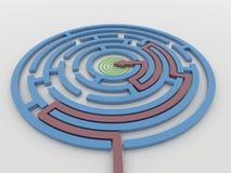 Maze Labyrinth 3D rende com seta vermelha para visar Fotos de Stock
