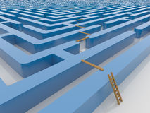 Maze Labyrinth 3D rende con la scala ed il tavolato Fotografia Stock