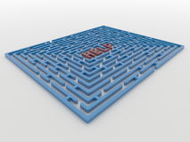 Maze Labyrinth 3D Render with Help Request Royalty Free Stock Image