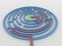 Maze Labyrinth 3D Render with Red Arrow to Target Stock Photos