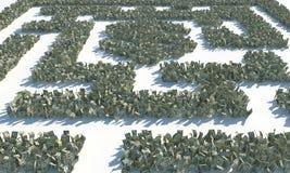 Maze Labyrinth finanziario fatto delle banconote dei usd Illustrazione Vettoriale