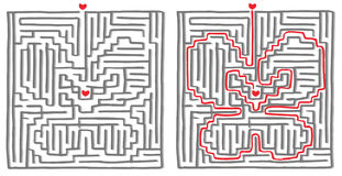 Maze labyrinth game butterfly. Maze labyrinth game, find the way, the solution is a butterfly. Vector illustration Stock Images
