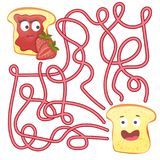 Maze or Labyrinth Game for Children. Puzzle - help toast to find right way. Maze or Labyrinth Game for Preschool Children. Puzzle - help toast to find right way Stock Images