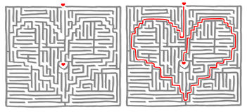 Maze labyrinth game Heart. Maze labyrinth game, find the way, the solution is a heart. Vector illustration Stock Photography