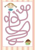 Maze or Labyrinth Game for Preschool Children (8). Find the correct way. Vectorial Royalty Free Stock Images