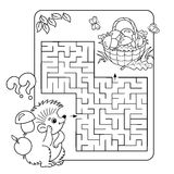 Maze or Labyrinth Game for Preschool Children. Puzzle. Coloring Page Outline Stock Images