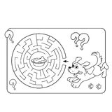Maze or Labyrinth Game for Preschool Children. Puzzle. Coloring Page Outline Of dog with bone Royalty Free Stock Photo
