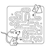 Maze or Labyrinth Game for Preschool Children. Puzzle. Coloring Page Outline Of little mouse with cheese Stock Photography