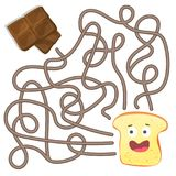 Maze or Labyrinth Game for Children. Puzzle - help toast to find right way. Maze or Labyrinth Game for Preschool Children. Puzzle - help toast to find right way Royalty Free Stock Photos