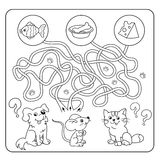 Maze or Labyrinth Game for Preschool Children. Puzzle. Tangled Road. Matching Game. Cartoon Animals and their Favorite Food. Coloring book for kids vector illustration