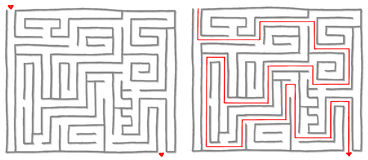 Maze labyrinth game square. Maze labyrinth game with solution, find the way. Vector illustration Stock Photography
