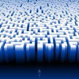 Maze Labyrinth Man Search Choice Output. Man enters into a giant maze; Find your way; Make the right decision; Eps8 Royalty Free Stock Photo