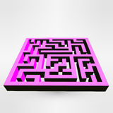 Maze labyrinth puzzle white on grey background. 3D Vector. Royalty Free Stock Images