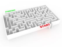 Maze or labyrinth in white without solution. Abstract concept of good direction and success in business. 3d render. 3d illustration stock illustration
