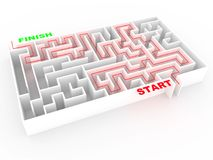 Maze or labyrinth in white with solution. Abstract concept of good direction and success in business. 3d render. 3d illustration royalty free illustration