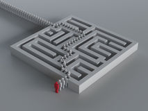 Maze with leadership stock illustration