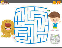 Maze leisure activity game. Cartoon Illustration of Education Maze or Labyrinth Leisure Activity with Kid Boy and his Puppy Royalty Free Stock Photo