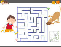 Maze leisure activity game. Cartoon Illustration of Education Maze or Labyrinth Leisure Activity with Little Boy and his Dog Royalty Free Stock Image