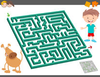 Maze leisure activity game for kids. Cartoon Illustration of Education Maze or Labyrinth Leisure Activity with Boy and his Dog Stock Photography