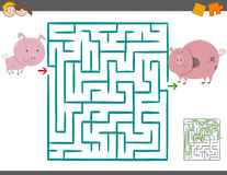 Maze leisure game with pigs. Cartoon Illustration of Education Maze or Labyrinth Leisure Game with Piglet and Pig vector illustration