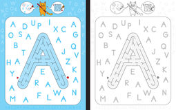 Maze letter A. Worksheet for learning alphabet - recognizing capital letter A - maze in the shape of capital letter A royalty free illustration