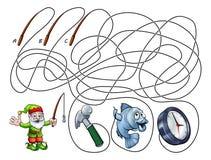 Maze Lines Game de los niños de los niños Foto de archivo