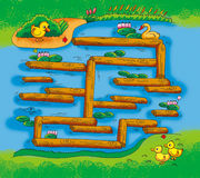 Wooden maze Royalty Free Stock Images