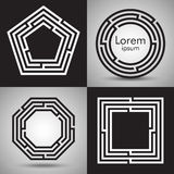 Maze logo collection. Vector logotype design set. Royalty Free Stock Images