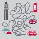 Maze With London Symbols - illustration de vecteur Photographie stock libre de droits