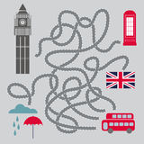 Maze With London Symbols - vector illustration Royalty Free Stock Photography
