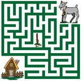 Maze of a lost goat. Illustration labyrinth peg, losing a goat and a house stock illustration