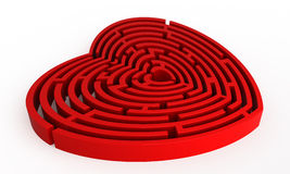 Maze of love. Red heart maze on white background Royalty Free Stock Photos