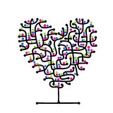 Maze of love, heart shape tree for your design Stock Photography
