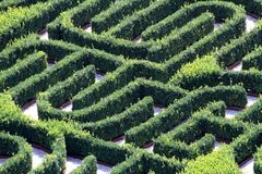 Maze made with hedges in a garden of a villa Royalty Free Stock Photos