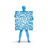 Maze man blue. 3D illustration of man holding maze which forms his body Stock Images