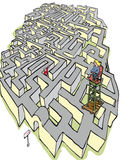Maze. Man lost in maze with seated woman looking on vector illustration