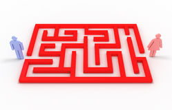 Maze with a man and a woman. 3D image Stock Photography
