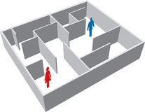Maze with man and woman. Man and woman separated in a maze Royalty Free Stock Images
