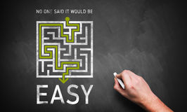 Maze with the message 'no said it would be easy'. On a chalkboard royalty free stock photography