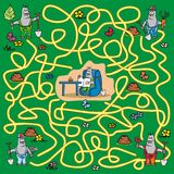 Maze - mole. A game for children and adults - moles looking for the right way for a friend Stock Photos