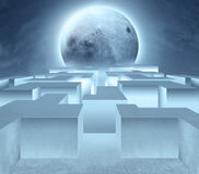 Maze and moon. Maze. Abstract background. Elements of this image furnished by NASA Royalty Free Stock Photo