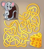 Maze 1 with mouse and cheese Stock Photo