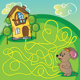 Maze  with mouse. Maze with mouse and cheese  house - funny vector illustration Stock Photo