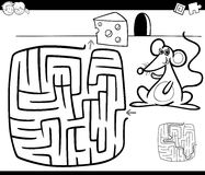Maze with mouse coloring page Stock Photo