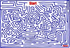 Maze number eleven, hand made, medium difficulty, bright blue. Maze number eleven, hand made vector graphic of medium difficulty. Artistic bright blue color. May vector illustration