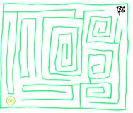 Maze number seven, very easy, fluorescent green, vector graphic. Maze number seven, very easy. Hand drawn maze. Artistic, fun puzzle. Game of tangled paths royalty free illustration