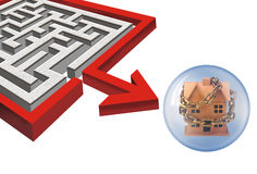 Maze och utgångspunkt Arkivbild