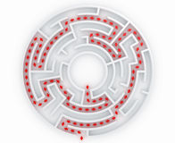 Maze with path. 3d rendering of a maze with the correct path marked with arrows Stock Photo