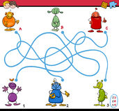Maze path activity for kids. Cartoon Illustration of Educational Paths or Maze Puzzle Activity Task for Preschool Children with Funny Characters Royalty Free Stock Image
